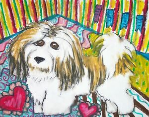 Havanese-Dog-Collectible-Pop-Art-ORIGINAL-Painting-11x14-Signed-by-Artist-KSams