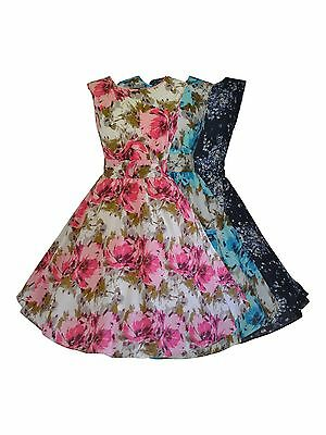 40's 50's Vintage Prints Lightweight Cotton Floral Flared Tea Dress New 10 - 20