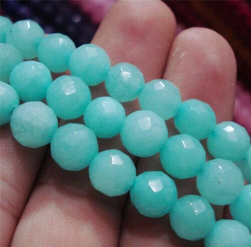 """Natural 10 mm Faceted Brazilian Aquamarine Gems Round Loose Beads 15/"""""""