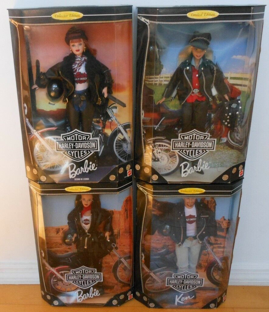 Juego De 4 Harley Davidson Barbie & Ken Muñeca  Nuevo En Caja  Nrfb