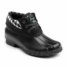 G.H. Bass & Co. Women's Dorothy Leather Waterproof Duck Boot Hounds Tooth/Black