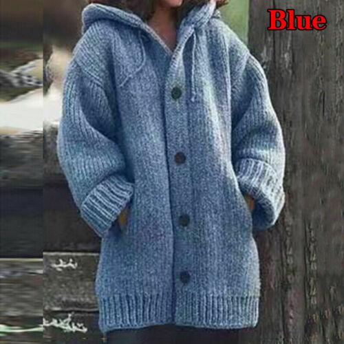 Women Winter Warm Hooded Knit Sweater Cardigan Coat Long Sleeve Outwear Jacket