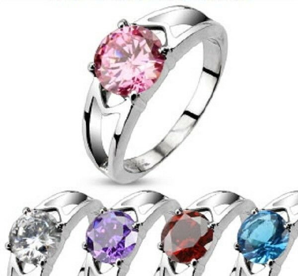316L Stainless Steel CZ Prong Set Solitaire Hollow Ring 1.25 Carat