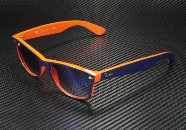 RAY BAN RB2132 789 3F New Wayfarer Blue Orange Crystal Light Blue 52 Sunglasses
