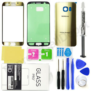For-Samsung-Galaxy-S6-Edge-G925-Gold-Front-Back-Glass-Screen-Replacement-Kit