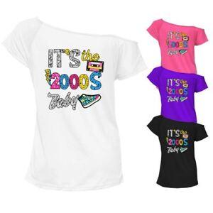 Mesdames, Il Est Le 2000 S Bébé Imprimé T Shirt Off épaule Pop Star Rétro Top 7533-afficher Le Titre D'origine