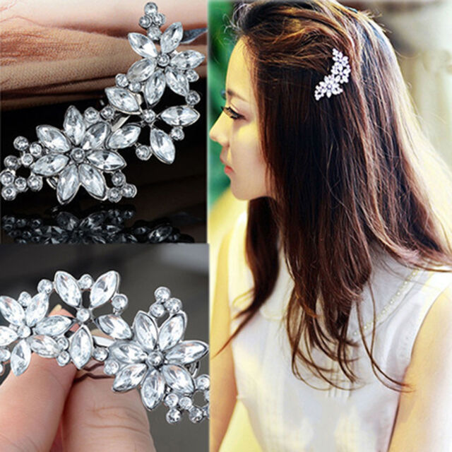 Women Bride Flower Headwear Rhinestone Barrette Crystal Hair Clip Bobby Pin GT