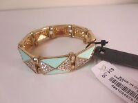 J.crew Teal Enamel Pave Crystal Link Stretch Bracelet $34.50