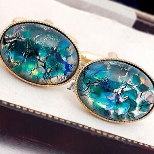 Vintage-CZECH-Blue-Green-Glass-Fire-Opal-Oval-Gold-Plated-Cufflinks