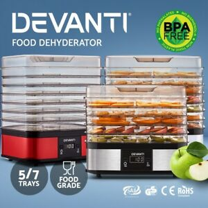 Devanti Food Dehydrators Dehydrator Beef Jerky 5/7 Trays Commercial Fruit Dryer