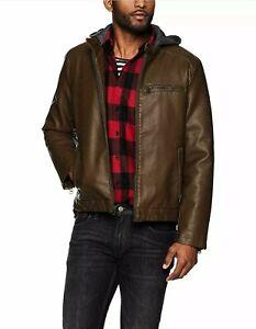 Levi-039-s-Men-039-s-Rugged-Faux-Leather-Racer-Jacket-W-Hood-Brown-Size-Med-MSRP-180