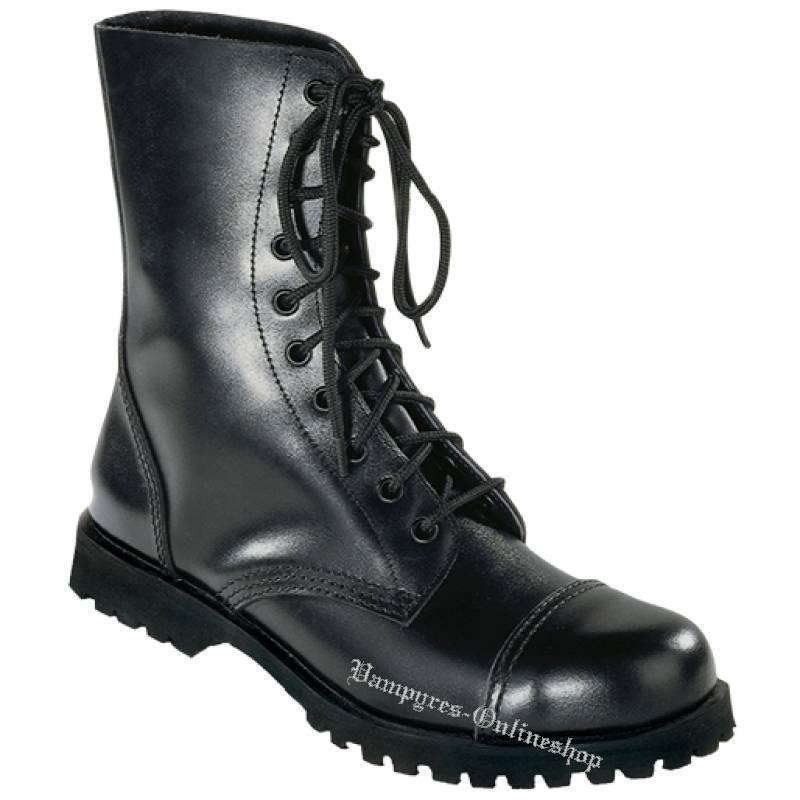 Bondage London Stiefel 10-Loch Schwarz Rangers Stahlkappen Leder Stiefel Stahlkappen Rangers Noir Nero 390c7c