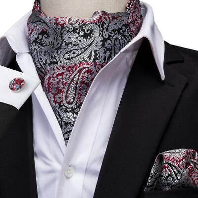 Mens Black Paisley Silk Ascot Cravat Necktie Handkerchief Cufflinks Set Jacquard