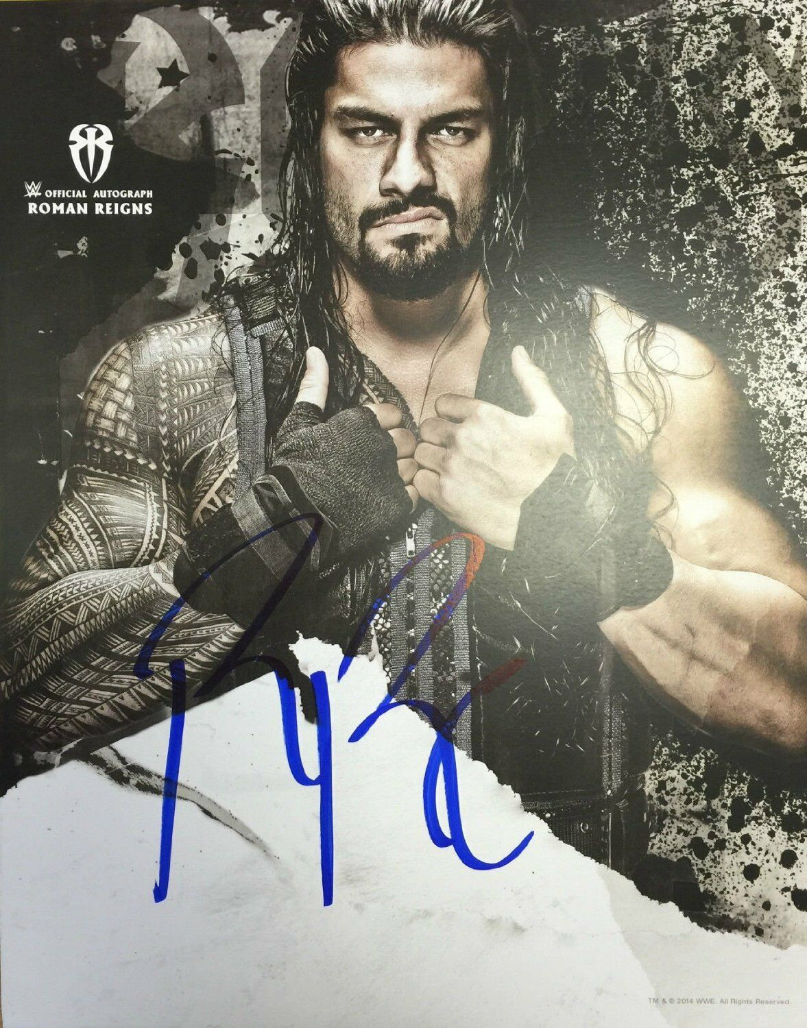 WWE ROMAN REIGNS THE SHIELD AUTOGRAPH HAND SIGNED POSTER PHOTO WRESTLING FIGURE