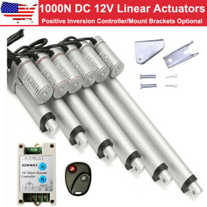US A Pair of 1000N Linear Actuators 12V Motor W// Bracket Wireless Controller Set
