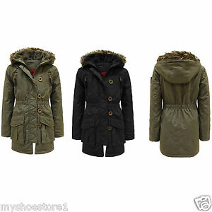 cebb1920b9a4 Image is loading Girls-Hooded-Jacket-Fur-Quilted-Padded-Parka-Military-