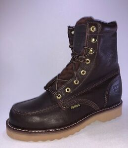 eb0e749df1f Details about Rhino 82M28 Mens Brown Leather 8 Inch Soft Toe Lace Up Work  Boots