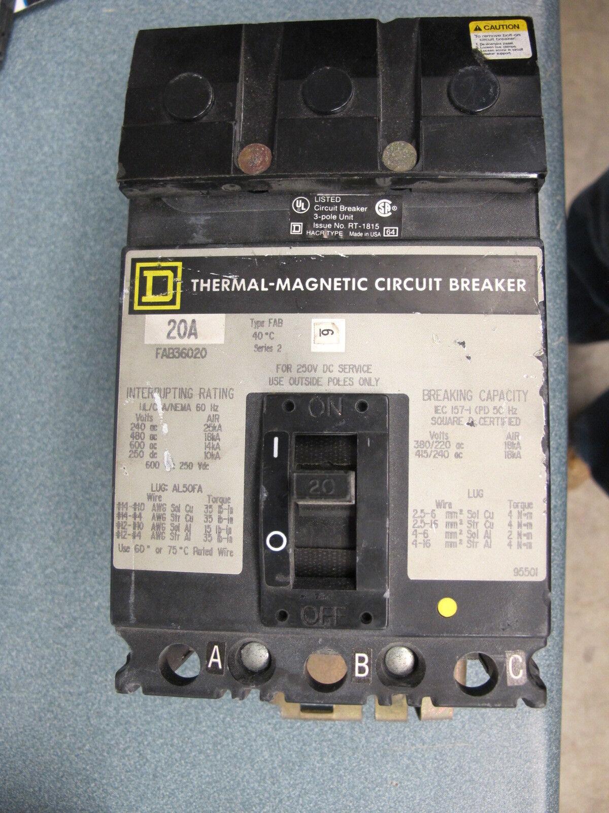 GREY Circuit Breaker- WARRANTY 30 Amp Square D FH36030 600 Volt 3 Pole