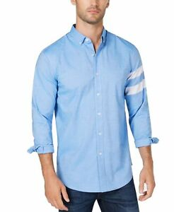 Club-Room-NEW-Blue-Men-Large-L-Striped-Sleeve-Button-Down-Stretch-Shirt-55-168
