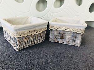 2-x-Grey-Wicker-Storage-Baskets-Gift-Hamper-Key-Storage-Cream-Lining-Bathroom