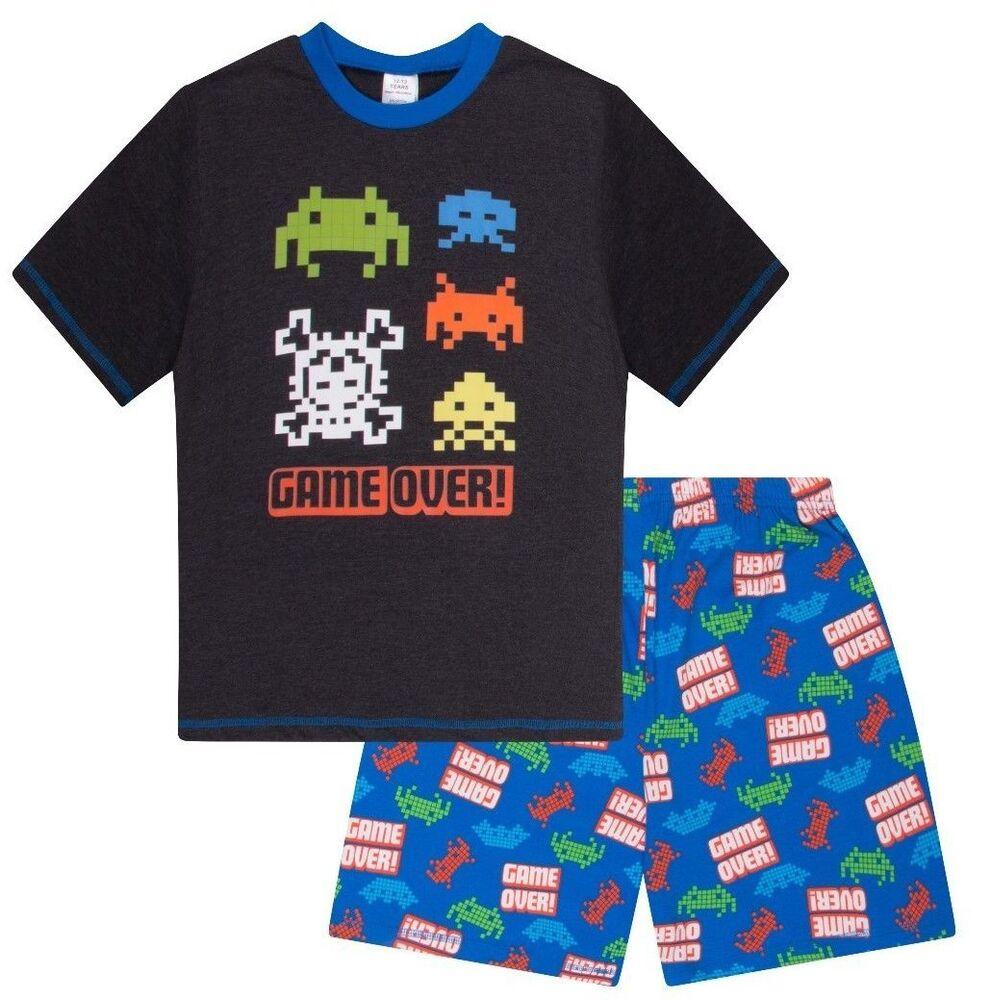 Juste Garçons Game Over Space Invader Court Pyjama 9 To 15 Ans Aop Couleurs Fantaisie