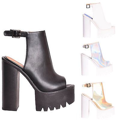 Womens Cleated Sole Ladies Chunky Heels
