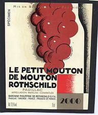 PAUILLAC ETIQUETTE LE PETIT DE MOUTON ROTHSCHILD 2000 DECOREE CARLU   §06/03/17§