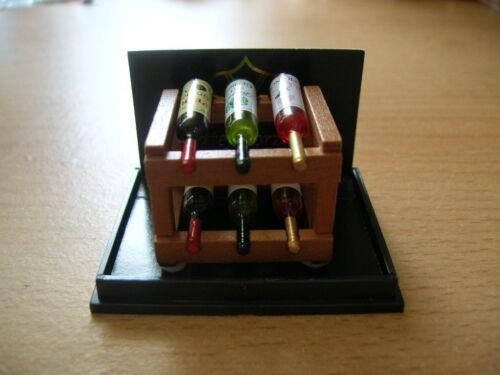 Reutter porzellan étagère à vin avec 6 bouteilles//wood wine rack set poupée 1:12