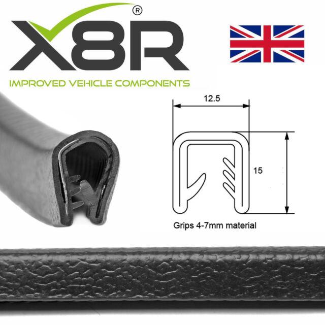Medium U section black rubber car edge protective trim 16mm x 7mm