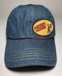 VTG Disney x Mickey Mouse Denim Patch Logo Youth Strapback Hat ... e1dd2c4593f