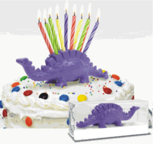 Birthday Candle Dinosaur STegosaurus Cake Topper Toy up to 10 yrs
