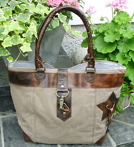 Details zu Vintage Shopper Canvas Leder Segeltuch Recycling Upcycling Tasche Strandtasche