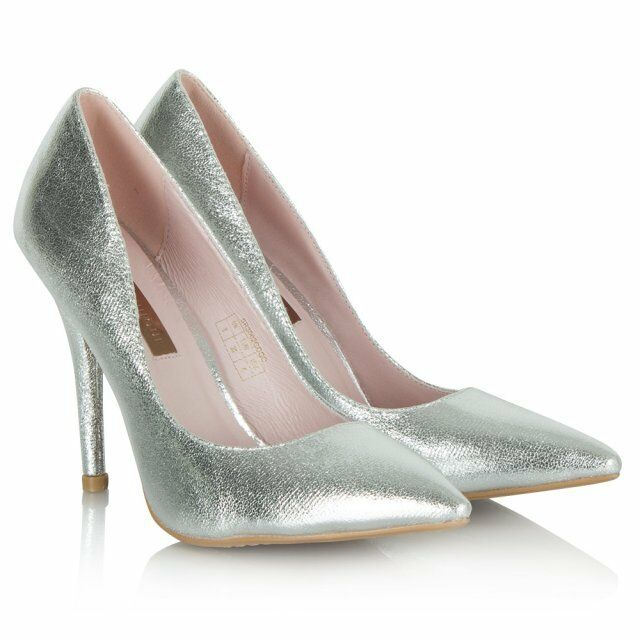 NEW Forever Forever Forever Unique Gogo Metallic Silver Cracked Leather Court shoes Pump Heel 6 91ddc8