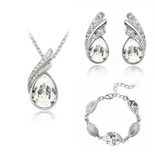 Señora joyas set Sterling plata chapados kubik circonita circonita