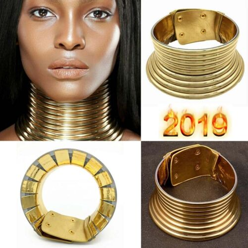 Hot African Jewelry Vintage Necklace Coil Adjustable Choker Maxi Collar AN FR