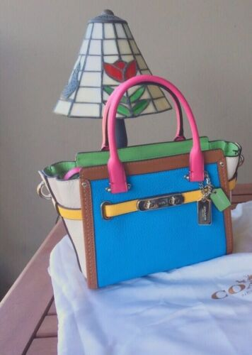 Multicolor Carryall Coach Neuer Swagger Handtasche 37694 Rainbow Pebble Leather 21 IwaAq
