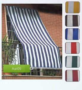 Tenda Da Sole 290x290cm Tessuto A Strisce Con Anelli Per Balcone E