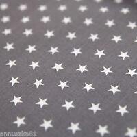 Baumwollstoff Baumwolle Sterne Weiß 8mm Groß auf Grau Baumwolle