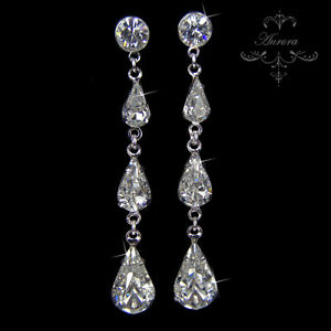 Swarovski-Crystal-Elements-Clear-Long-Teardrop-Earrings-Silver-Graduated-Wedding