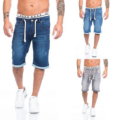 Lorenzo Loren Herren Jogg Jeans Shorts kurze Hose Bermuda Sommer Short Sweathose