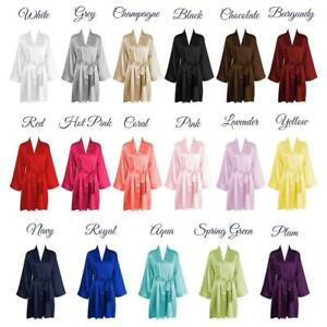 USA-SELLER-Bridal-Gift-Women-039-s-SILK-Kimono-Robes-Bathrobe-BRIDE-BRIDESMAID