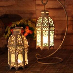Lanterne-Vintage-en-Fer-Forge-Verre-Bougeoir-Suspendre-Support-de-Bougie