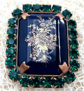 Vintage-Style-Czech-ALL-Glass-Rhinestone-Pin-Brooch-T063-SIGNED