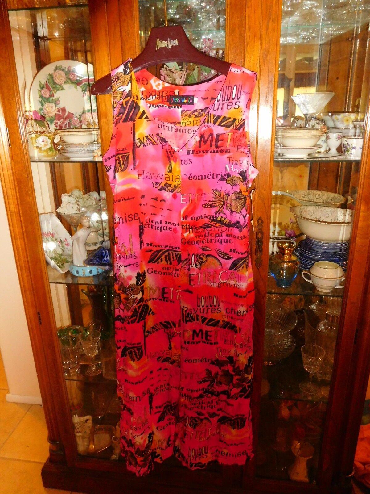 Jams World  Dress NEW NWT Hawaiian GRAVURE French L Sun Cruise Lounge Beach Rosa
