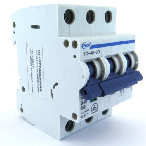 NEW YuCo YC-40-3D 40A 3P D CURVE 240//480V DIN RAIL MOUNT UL 1077 CIRCUIT BREAKER