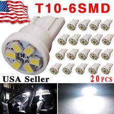 20x T10 Wedge 6-SMD White Interior Map LED Light Bulbs 198 164 2825 W5W 192 12V