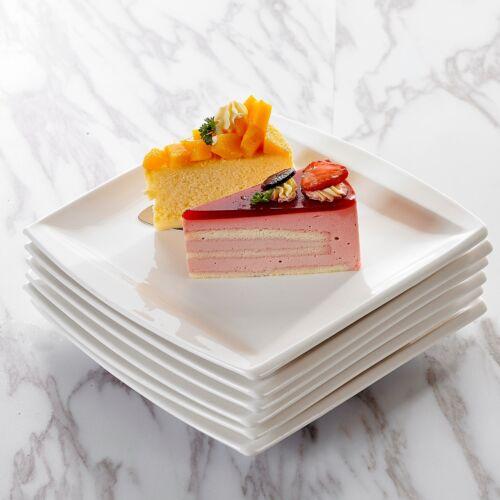 "BLANCE 6-Piece 8.25/"" Square Porcelain Dessert Plate Home Kitchen Cafe Party"