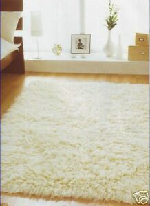 Image Is Loading Large Greek Cream Flokati Wool Rugs Washable 240x350cm