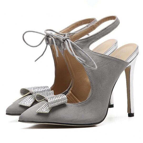 Court shoes women's sandals heel 12 cm elegant stiletto grey like leather CW303