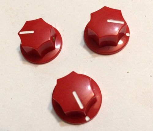 """3 Red Guitar MXR Amplifier Pointer Knobs,1//4/"""" Pots-Set Screw-On Effects Pedal"""